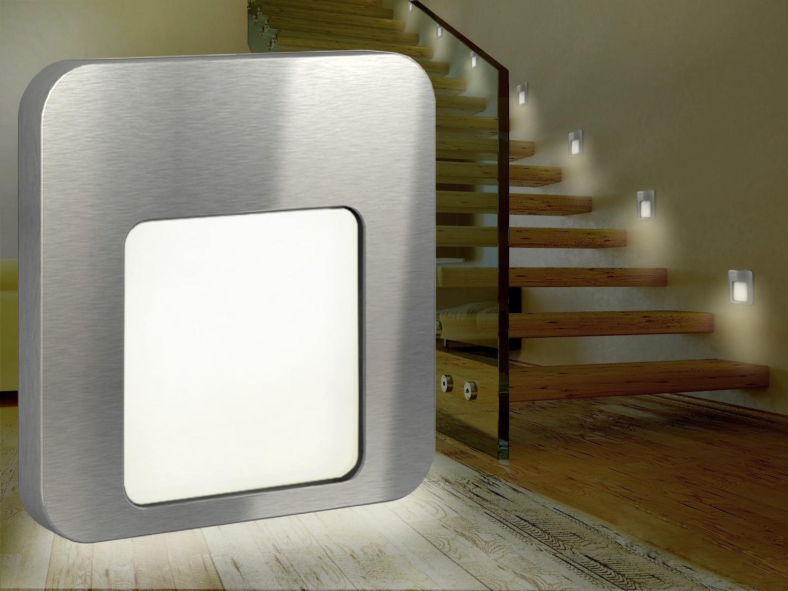 led treppen wandeinbauleuchte stufenlicht f 60mm up dose ip20 230v warm wei ebay. Black Bedroom Furniture Sets. Home Design Ideas