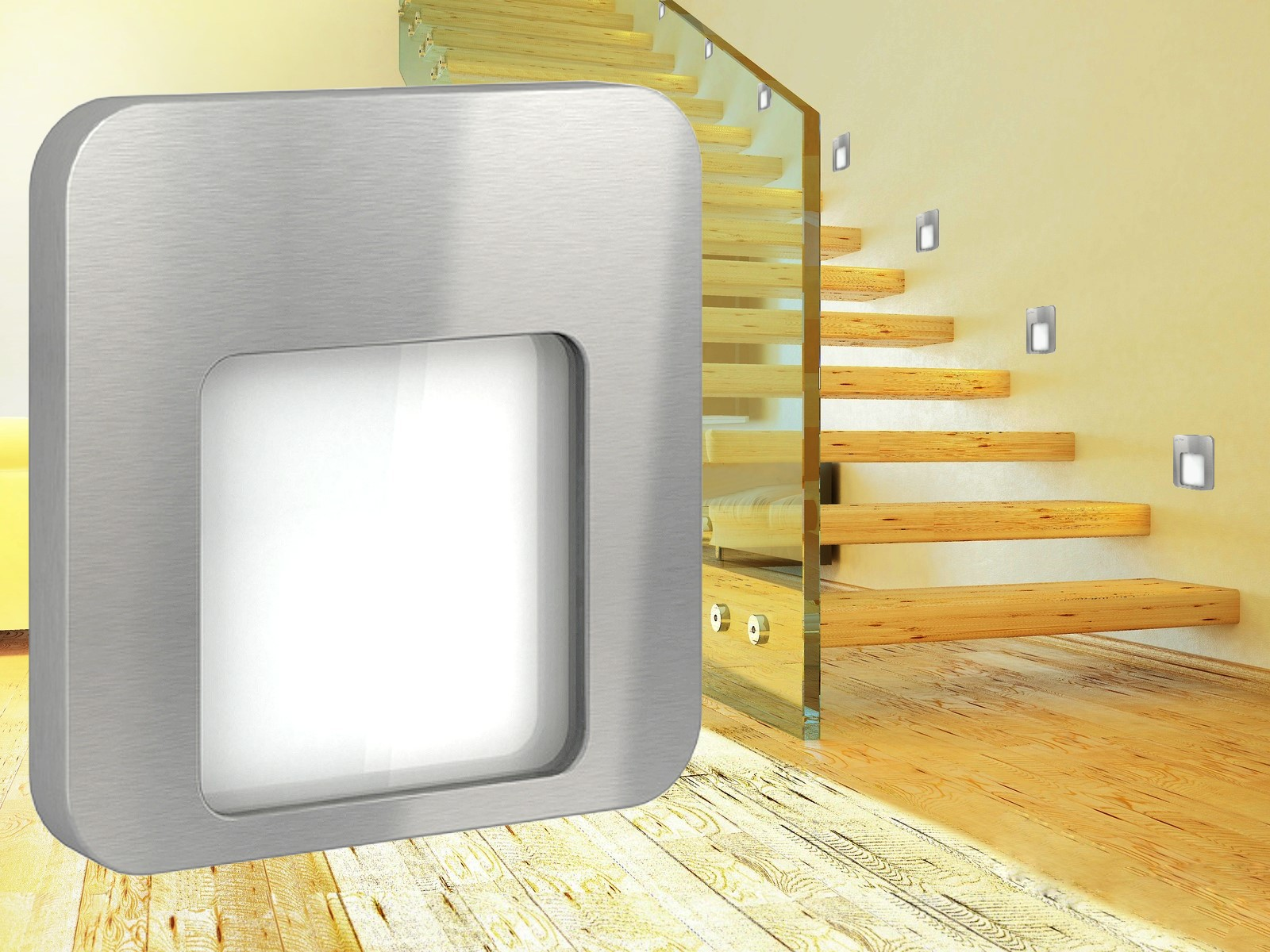 led treppen wandeinbauleuchte stufenlicht f 60mm up dose ip20 230v warm wei ebay. Black Bedroom Furniture Sets. Home Design Ideas