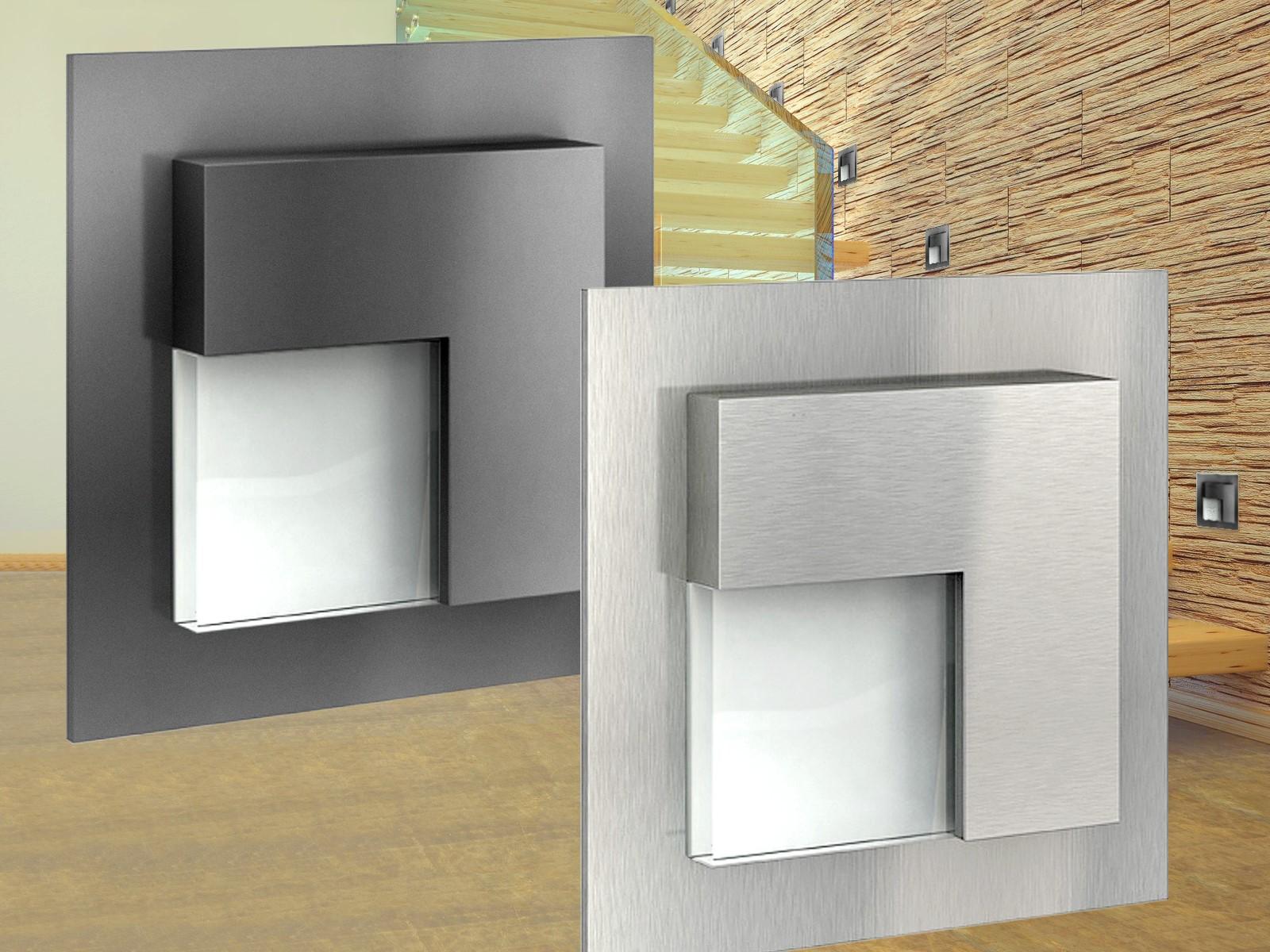 led wandeinbauleuchte edelstahl oder graphit f r 60mm up dosen cree leds 230v ebay. Black Bedroom Furniture Sets. Home Design Ideas