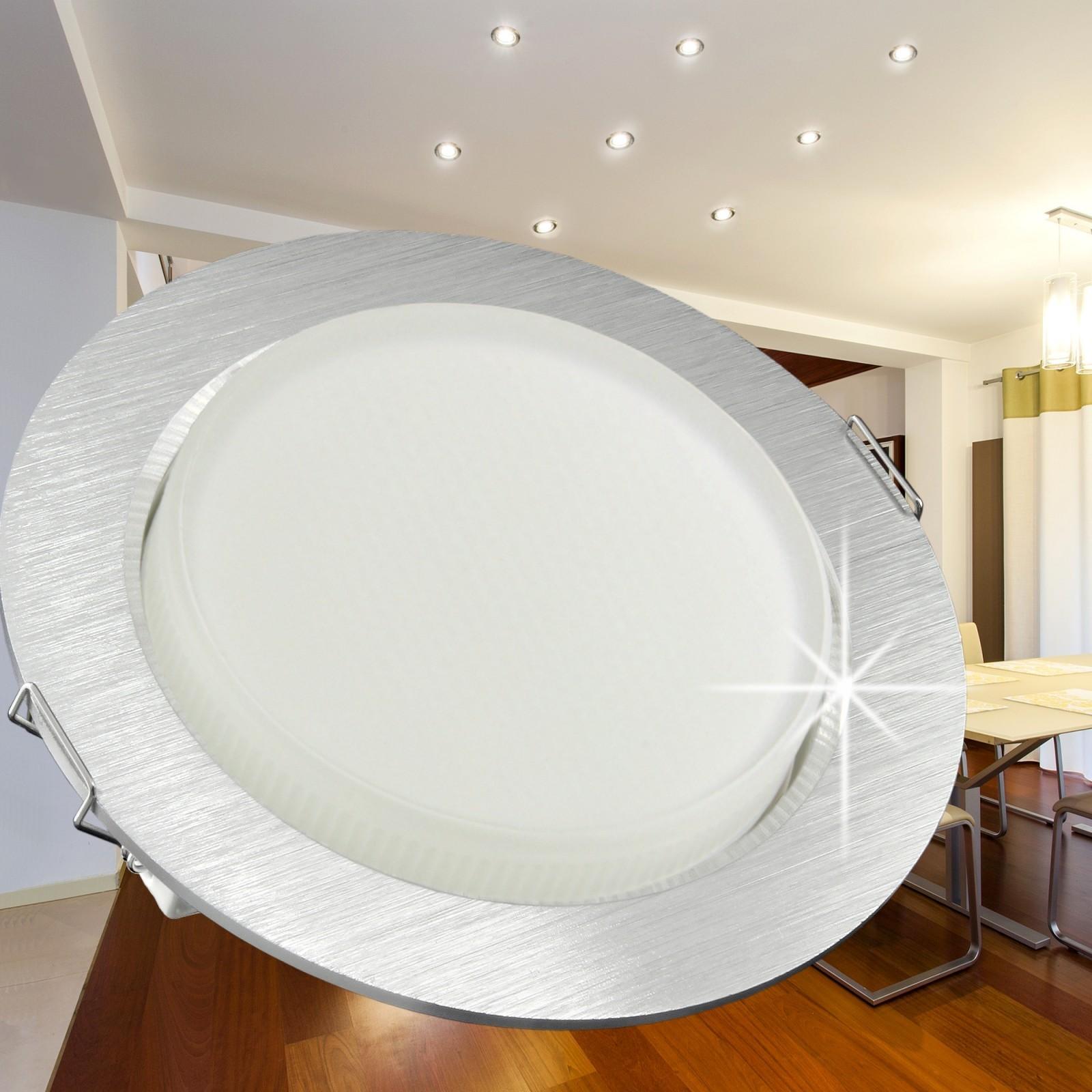 rx 3 flacher alu led einbaustrahler 230v 30smd leds warm weiss wie 50w lampe ebay. Black Bedroom Furniture Sets. Home Design Ideas