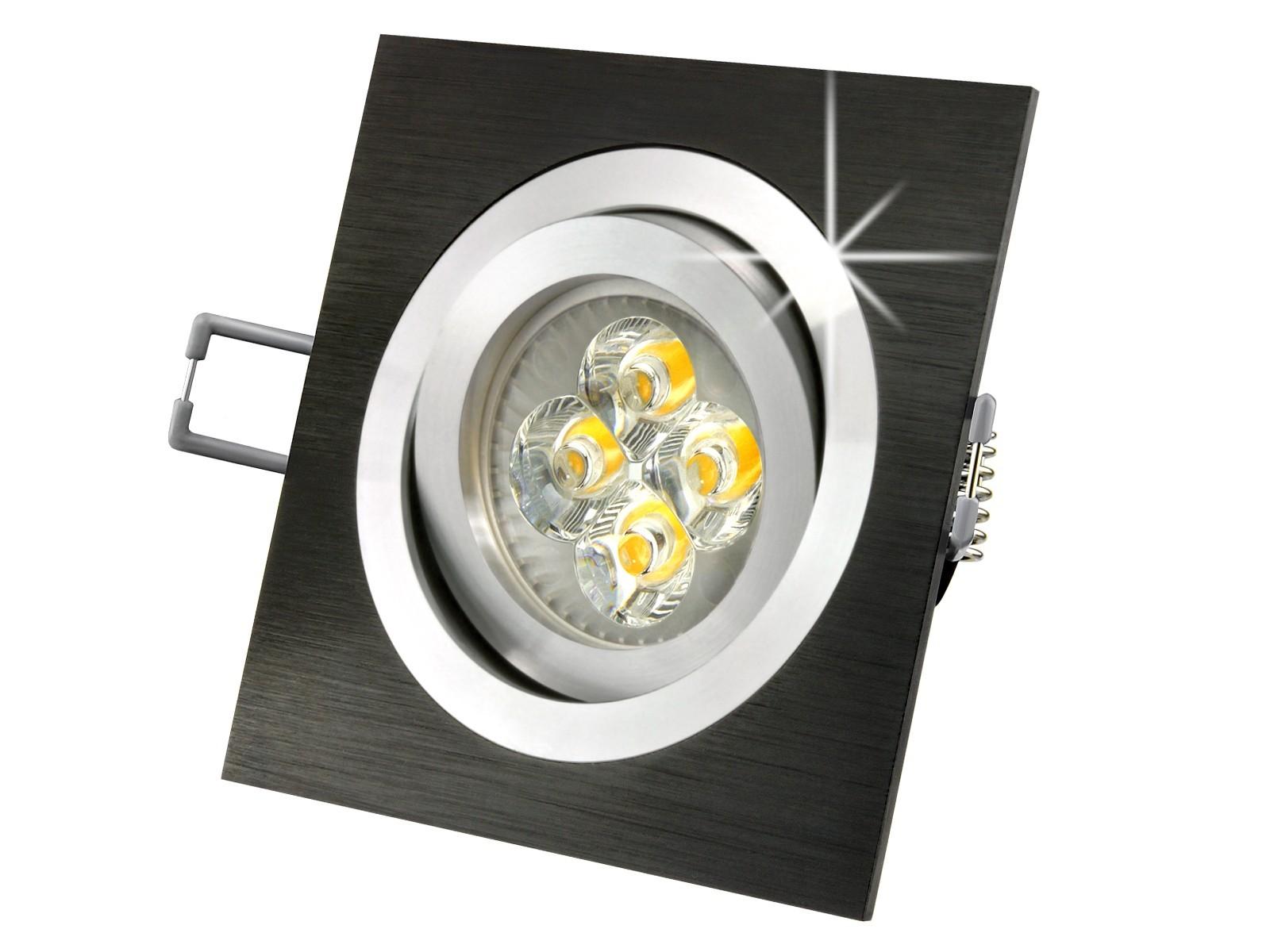 qf 2 led einbauleuchte einbaustrahler alu schwarz dimmbar 230v gu10 warm weiss ebay. Black Bedroom Furniture Sets. Home Design Ideas