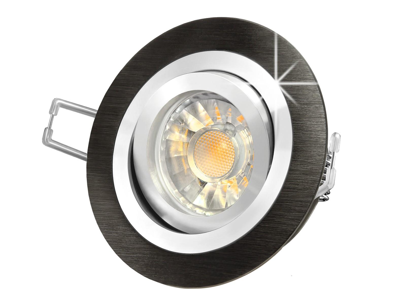 rf 2 led einbaustrahler leuchte rund alu schwarz geb rstet 5w smd warmwei dimmbar gu10 230v. Black Bedroom Furniture Sets. Home Design Ideas