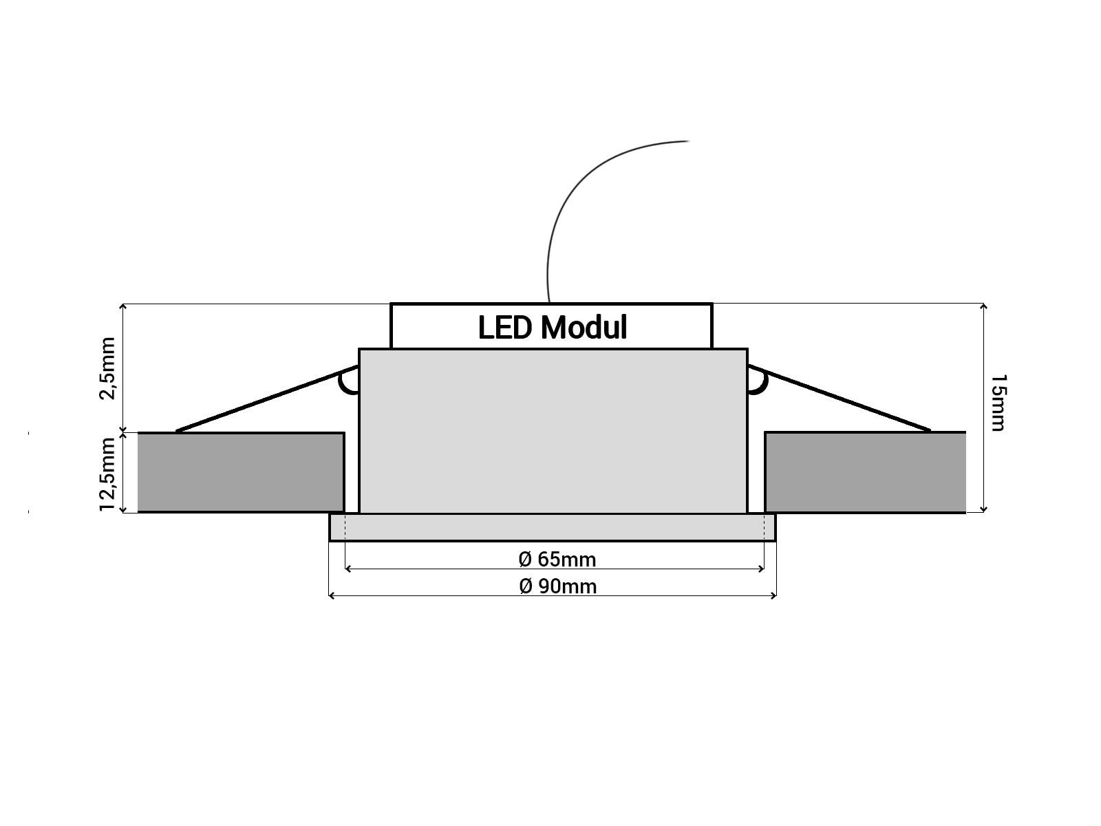 glas led einbaustrahler flach rund schwarz spiegelnd led modul 5w neutralwei 4000k 230v. Black Bedroom Furniture Sets. Home Design Ideas