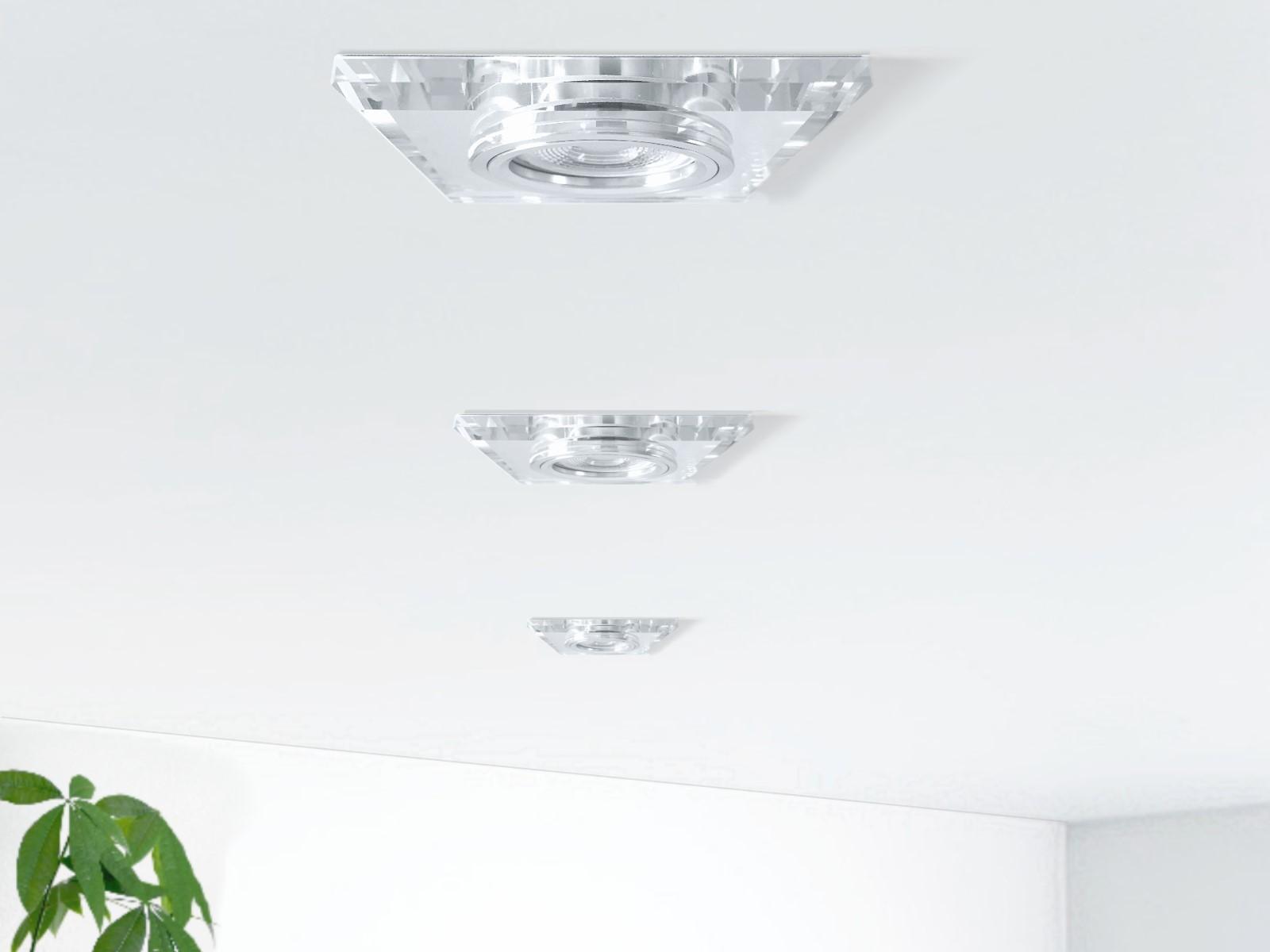 flacher design einbaustrahler aus glas quadratisch klar spiegelnd led modul 5w warmwei 230v. Black Bedroom Furniture Sets. Home Design Ideas