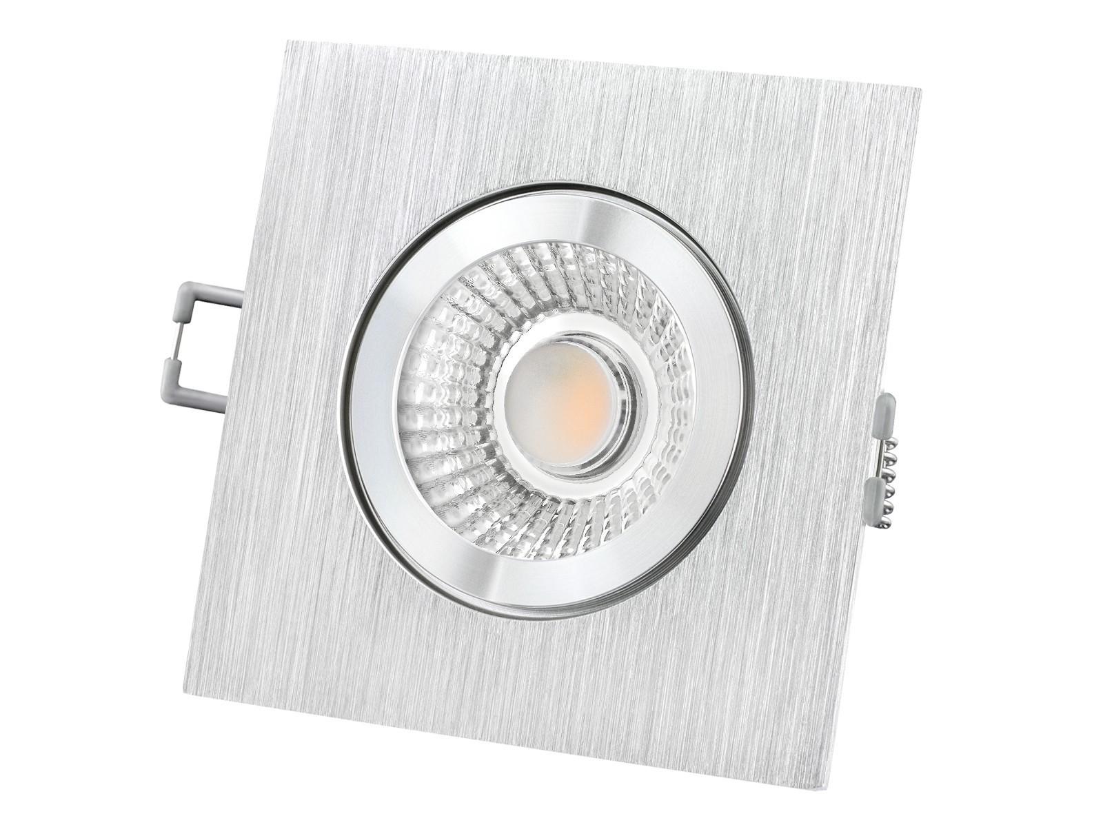 qw 2 led einbauspot quadratisch flach ip44 alu incl led modul 230v 10w warm wei 2300 2700k. Black Bedroom Furniture Sets. Home Design Ideas