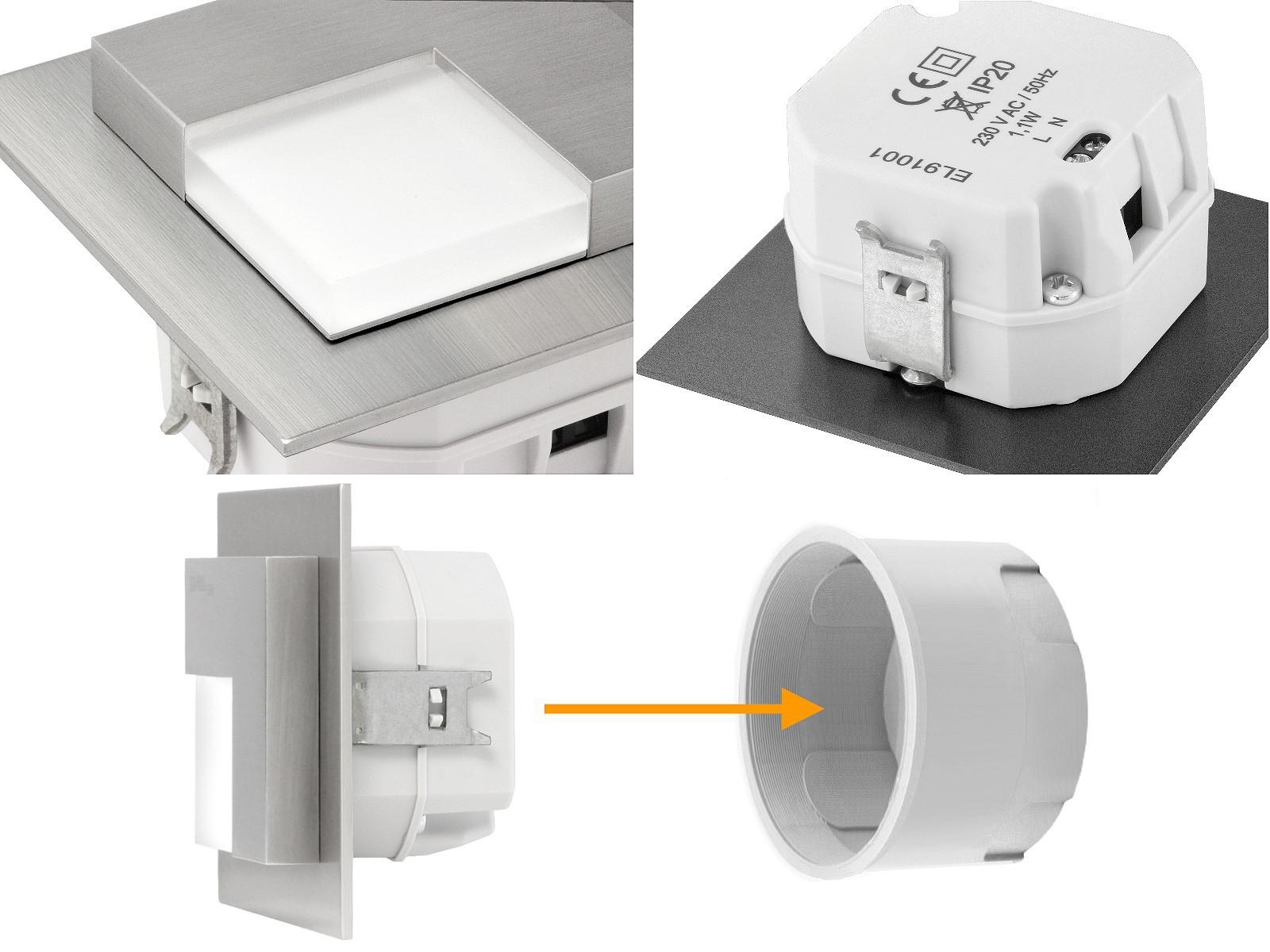 treppenbeleuchtung led 230v schalterdose glas. Black Bedroom Furniture Sets. Home Design Ideas