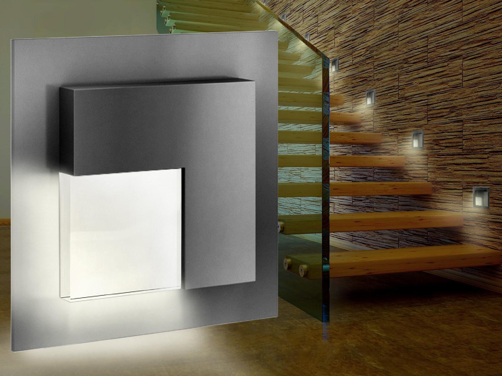 led wandeinbauleuchte tajo edelstahl oder graphit stufenleuchte quadratisch f r 60mm. Black Bedroom Furniture Sets. Home Design Ideas