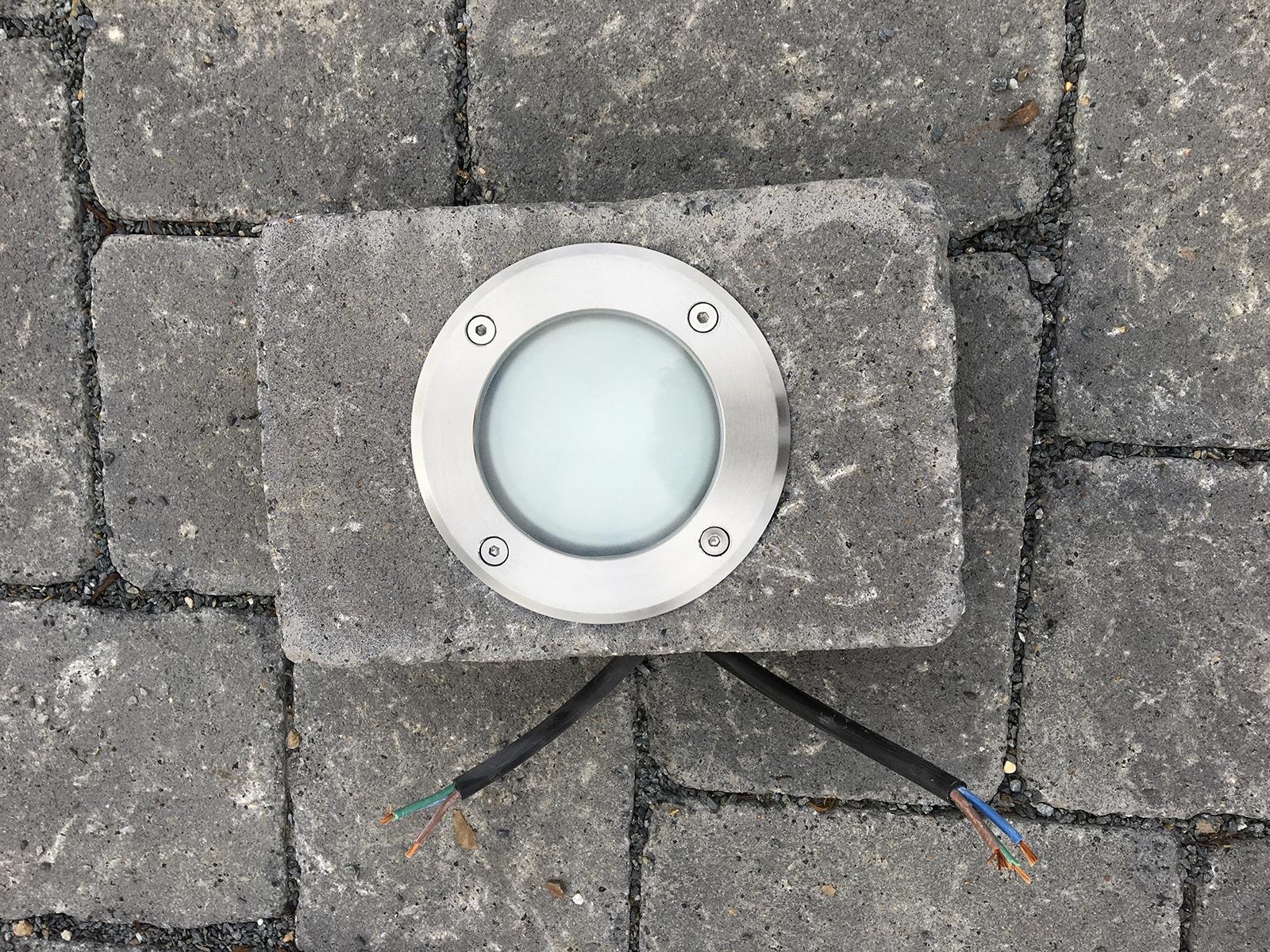 Turbo LED-Bodeneinbaustrahler MARNE - rund in Edelstahl gebürstet, 6W JP27