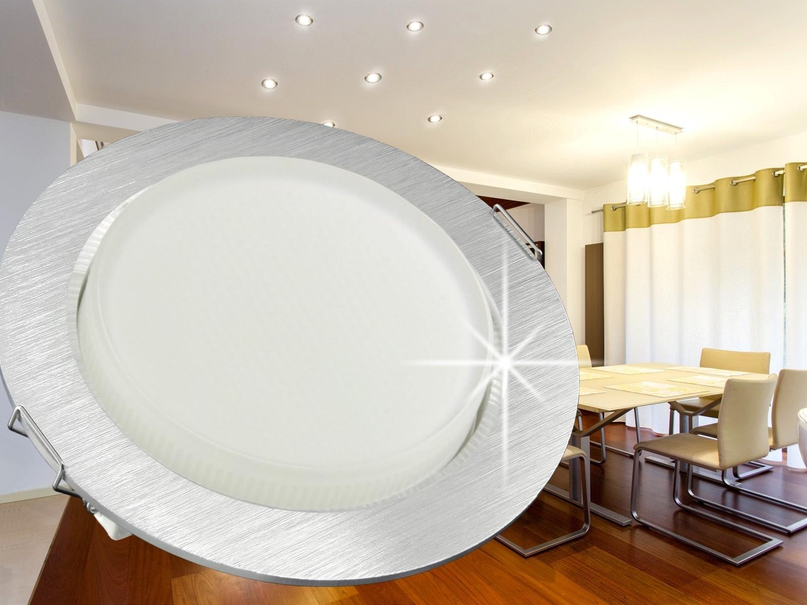 rx 3 alu led einbauleuchte einbaustrahler flach gx53 fassung 5 5w 230v 30 smd leds licht warm. Black Bedroom Furniture Sets. Home Design Ideas