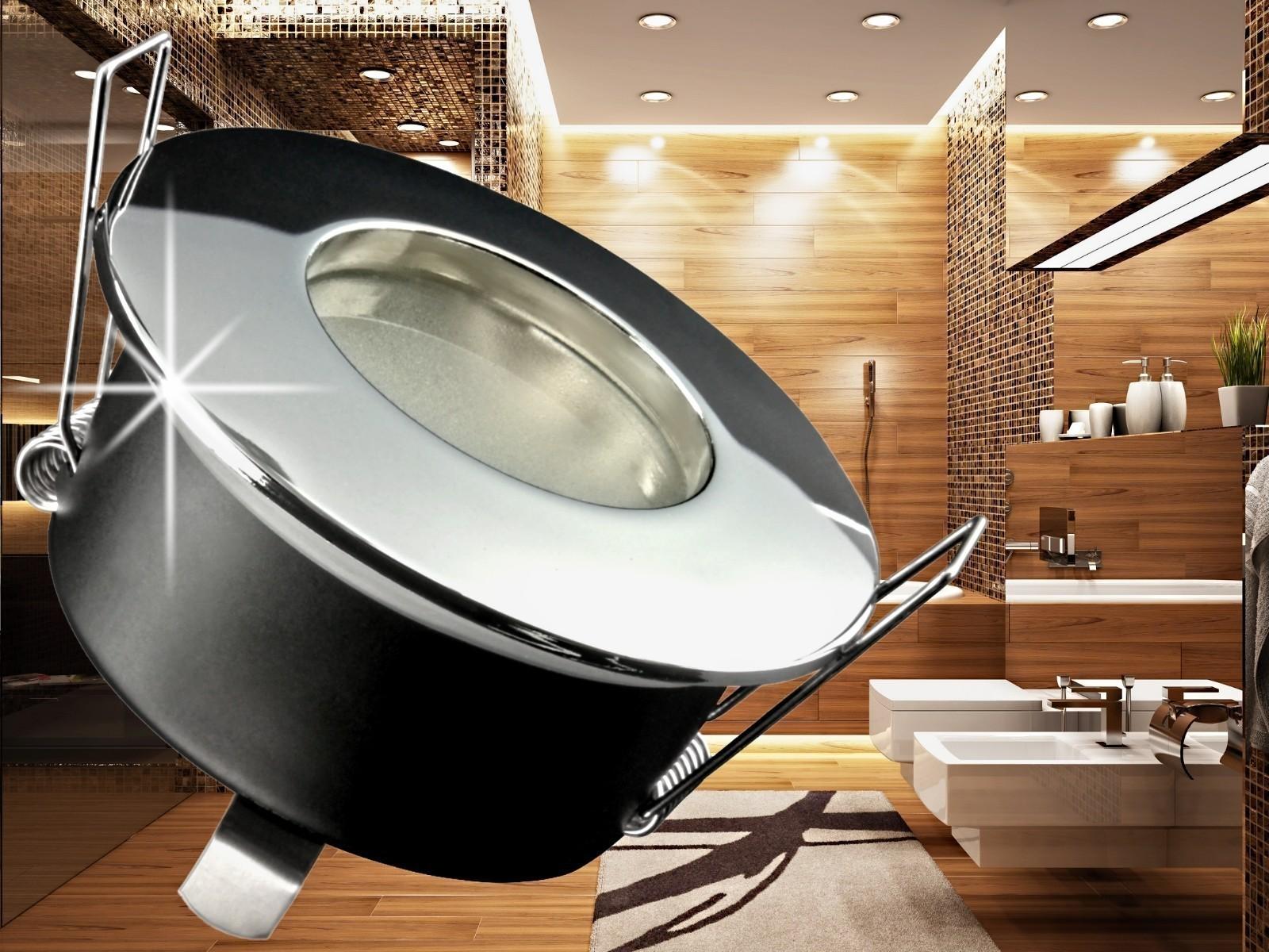 rw 1 feuchtraum led einbaustrahler bad einbauleuchte chrom ip65 5w smd leds warm wei gu10. Black Bedroom Furniture Sets. Home Design Ideas