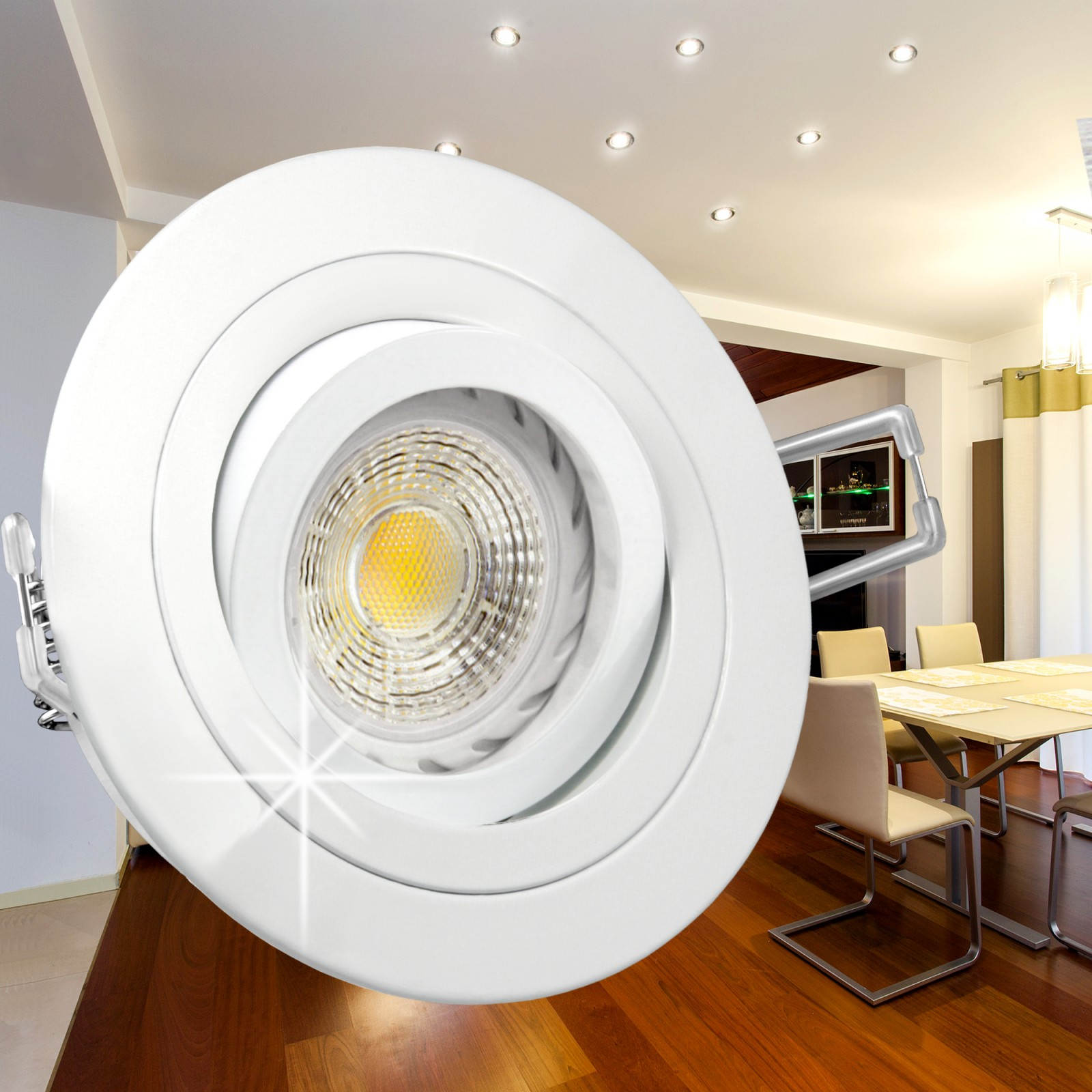 rf 2 led einbauspot strahler wei schwenkbar 3 5w smd led warmweiss gu10 230v ebay. Black Bedroom Furniture Sets. Home Design Ideas