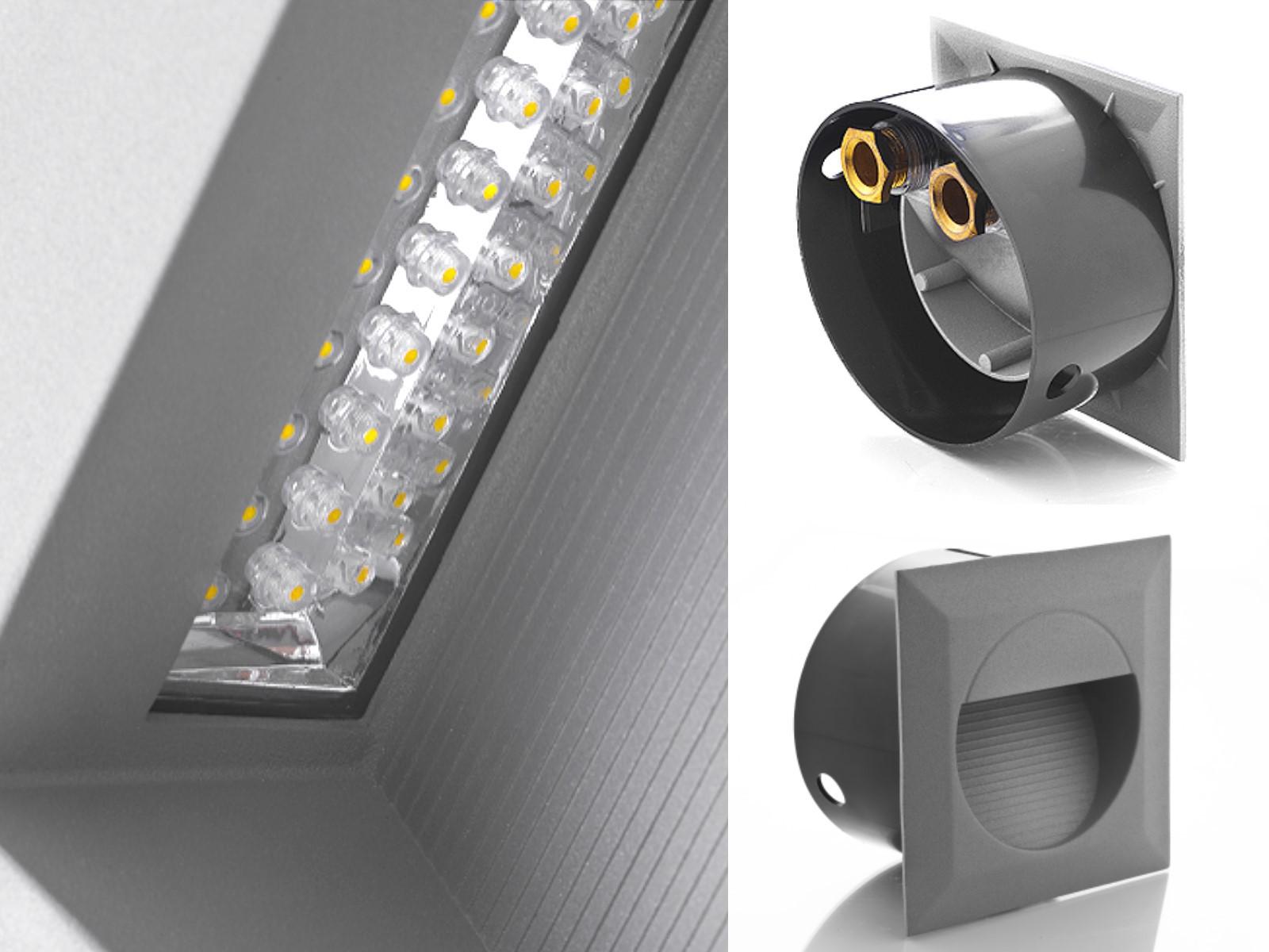led wandeinbauleuchte treppenleuchte mini j02 1 2w 230v ip65 lichtfarbe warmwei. Black Bedroom Furniture Sets. Home Design Ideas