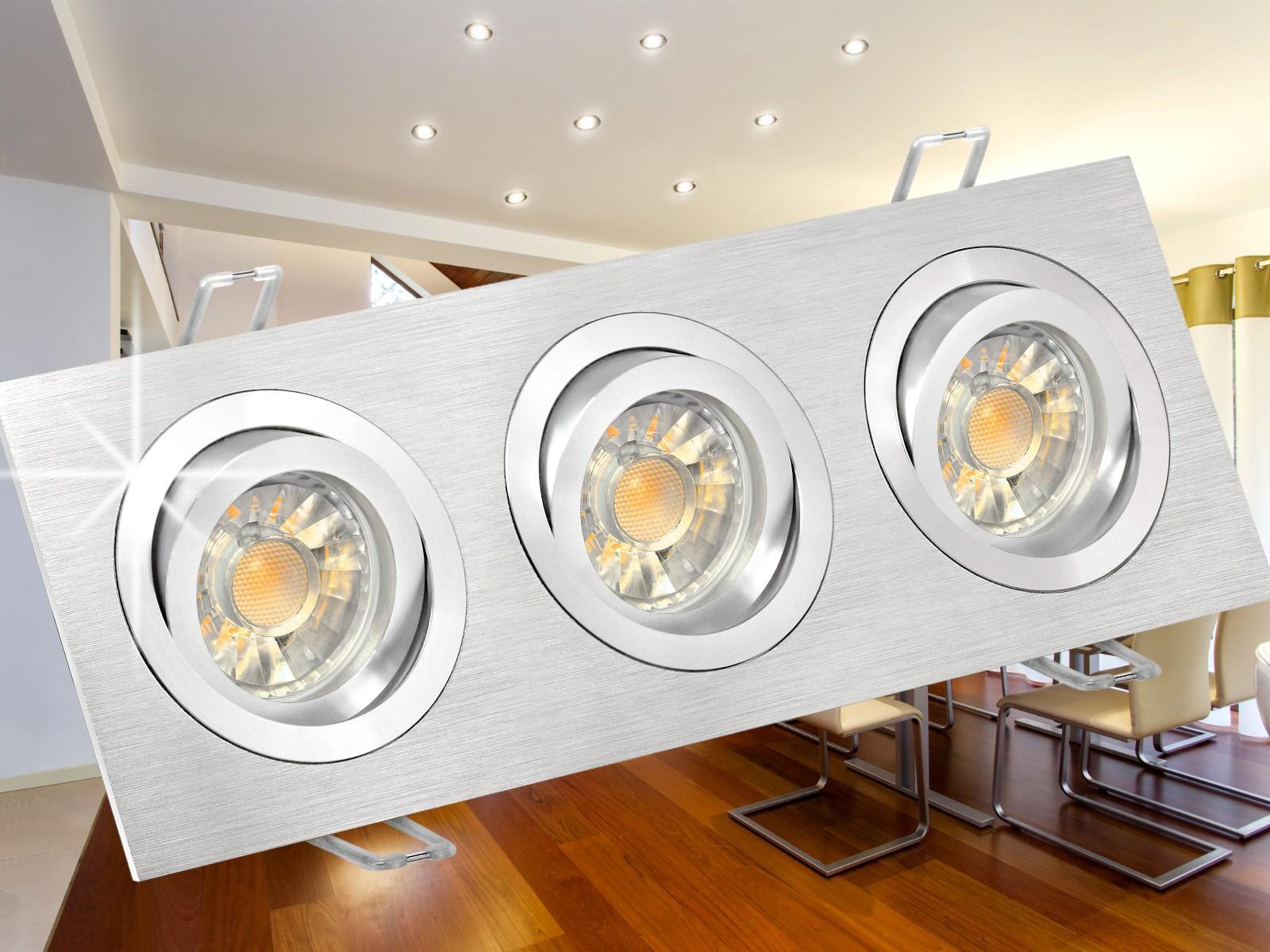 qf 2 3 alu led einbaustrahler schwenkbar 3x 3w smd warmwei gu10 230v in sch ner halogenoptik. Black Bedroom Furniture Sets. Home Design Ideas